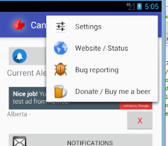 Android hamburger menu expanded